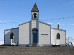 The chapel, picture found at  http://www.uscg.mil/pacarea/polarsea/images/ArchivePix/McMurdoChurch.jpg