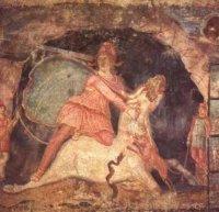 Mithras fresco, public domain at Wikipedia