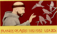 Francis of Assisi on a US postage stamp