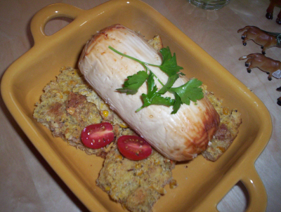 Quorn roast on a bed of corn pudding